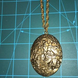 New antique locket with chain Stamped metal